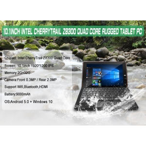 10.1inch Intel CherryTrail Z8300 Quad Core 2G 32G 1920*1200 IPS Support  WIFI Bluetooth Dual OS Rugged Tablet PC RGW102