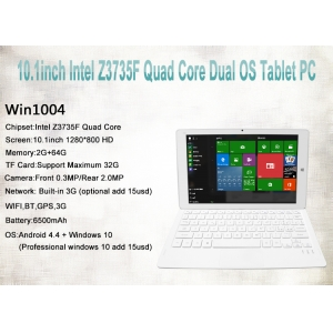10.1inch Intel Z3735F Quad Core 2GB 64GB  1280*800 HD Support  GPS BT Wifi  Dual OS Tablet PC Win1004