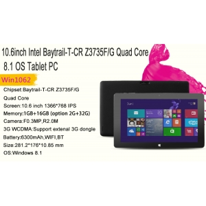 2015 Newest 10.6inch Z3735F Quad Core 2GB 32GB 1366*768 Intel Tablet PC W1062
