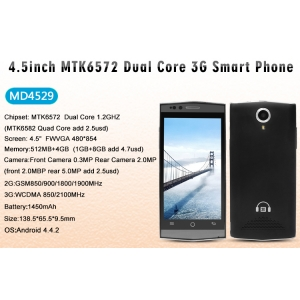 34.5USD Low Price  Smart Phone 4.5inch 512MB 4GB 854*480 2.0MP Camera Mobile Phone MD4529
