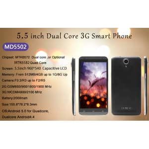 5.5inch MTK6572 Dual Core 512MB 4GB 960*540 Front 0.3MP Rear 2.0MP  52USD Low Price Smart Phone MD5502
