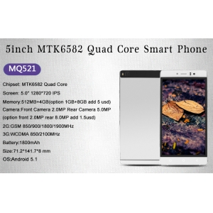 5inch MTK6582 Quad Core 512MB 4GB 960*540 Front 2.0MP Rear 5.0MP Android 5.1 Mobile Phone MQ521
