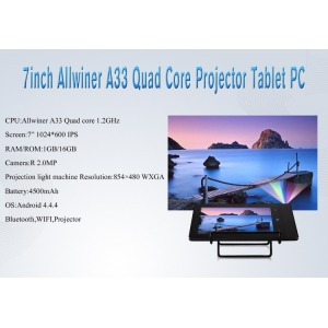 7.0inch Allwinner A33 Quad Core 1G 16G 1024*600 IPS with BT Wifi Projector Tablet PC MQ749