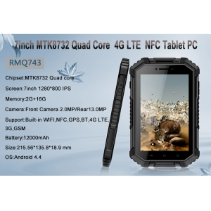 7inch MTK8732 Quad Core  2G 16G 1280*800 IPS  3G GSM GPS Wifi  BT NFC 4G LTE Rugged Tablet  PC RGM743