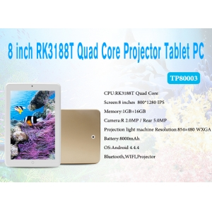8inch RK3188T Quad Core 1GB 16GB 1280*800 Android 4.4 8000mAh Projector Tablet TP8003