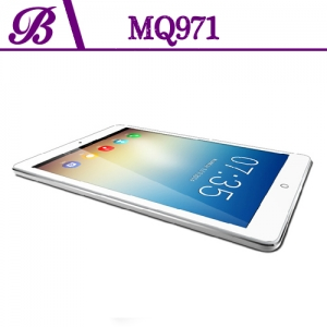 9.7 inch 1G + 16G 1024 * 768  Front Camera 0.3MP  Rear Camera  5.0MP  Support GPS 3G WIFI Bluetooth  IPS Quad Core Tablet PC  MQ971