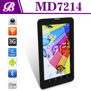 China 3G Android Tablet Factory Hot Selling Products 7inch  Front Camera 0.3MP Rear Camera 2.0MP 1024*600IPS 1G + 16G  MD7214