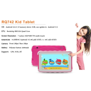 RQ742 7inch 1024*600 QuadCore Wifi Kids Tablet