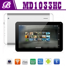 China 10.1inch Android tablet pc with 1G+8G 1024*768 TN screen front 0.3M real 2.0M camera with bluetooh 3G factory