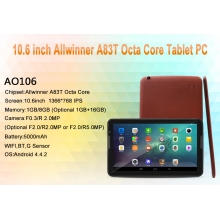 "China 10.6""Allwinner  A83T Octa Core 1G  8G  with  BT Wifi Tablet PC factory"