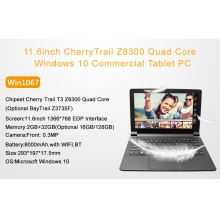 China 11.6inch CherryTrail Z8300 Quad Core 2GB 32GB 1366*768 Windows 10 Front 0.3MP Camera Commercial tablet PC Win116 fábrica